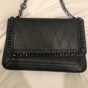 Black Leather MANGO brand shoulder bag